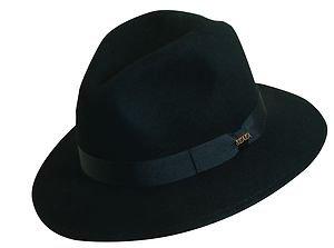 SCALA-Crushable Rain-Water Repellent-Proof Soft Wool-Black Fedora Hat-XL