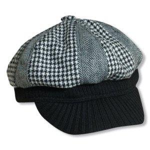 Women-SCALA Newsboy Hat-Black-White