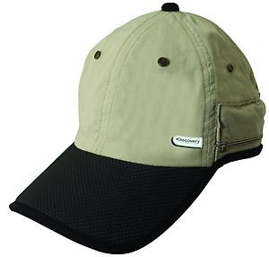 SPF/UPF-50:Neck Flap Shade Cap-Zip Pocket/Hat-Hiking/Fishing/Khaki Black-Medium