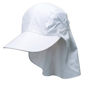 MICROFIBER-Extended Face/Neck Flap Cap-Wide Brim-No Glare-Quick Dry-White