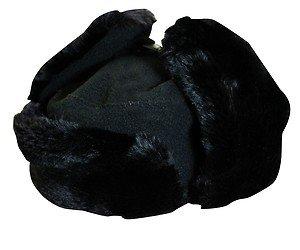 TROOPER-BOMBER-HUNTER-Russian Fleece Ear Flap Fur Hat-Black-Small-Medium