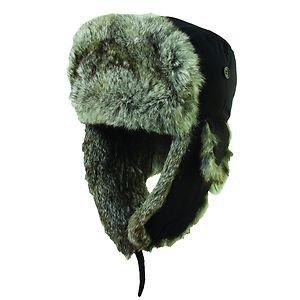 Rabbit Fur-Aviator-Bomber Pilot Winter Folding Neck/Ear Flap Hat-Black-Medium