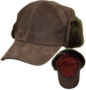 Woolrich LEATHER Cap-Hunter-Trooper-Aviator Ballcap Ear Flap Fur Hat-Brown-LARGE