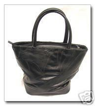 """Mini-Bucket"" Black Patchwork Leather Small Handbag Purse-buttery soft leather"