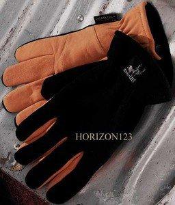 Heat-Lock Insulated-Deer Skin Leather Gloves-Black &Tan-Large