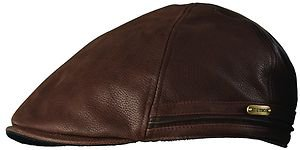 STETSON- BROWN Full Grain Leather Ivy Driving Cap-Golf-Cabbie-Newsboy Hat-MEDIUM