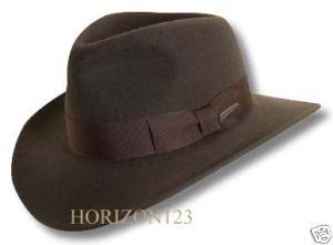 """Rain Repellent-Official Indiana Jones-Fedora-CRUSHABLE  2-7/8"""" Brim Brown-Medium"""