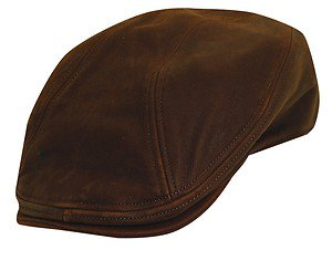 The STETSON-Top Quality Brown Leather Ivy Golf Driving Flat Cap-Hat-LARGE/XL