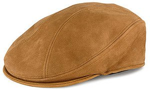 STETSON-Texas Leather-TAN Nubuck Ivy Driving Cap-Cabbie-Newsboy Hat-Small/Medium