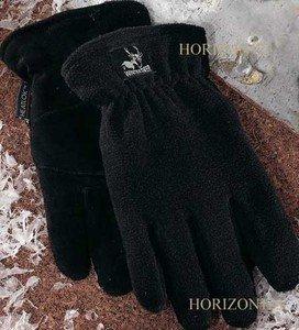 Heat-Lock Insulated-Deer Skin Suede Leather Gloves-Black-MEDIUM