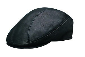 STETSON *Made in Texas* Black Leather Nubuck Ivy Driving Flat Cap-Hat-LARGE/XL