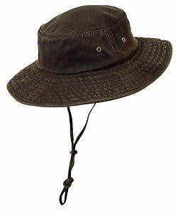UPF SPF 50-UV SUN BLOCK-Weathered Cotton Oilcloth Boonie Bucket Hat-Brown-Medium
