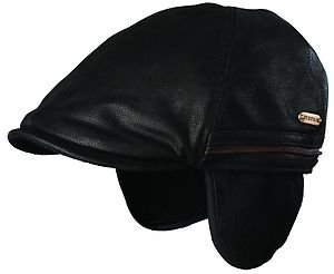 STETSON-Full Grain Leather Ivy Driving Cap- Hat--FOLDING EAR FLAPs--BLACK-LARGE