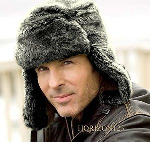 Faux Fleece Fur-Foldable Earflap Cap-Russian-Trooper-Hunter-Bomber-Gray-LARGE/XL