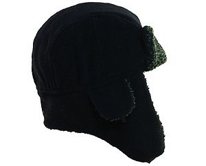 TROOPER BOMBER HUNTER AVIATOR-Fleece Ear Flap Black Fur Hat-+Straps Small-Medium