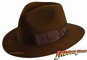 OFFICIAL  INDIANA JONES Firm Wool Felt Fedora Hat-w/Satin Lining-Brown XL
