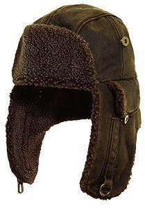 Rugged Oilcloth  Winter Trooper-Bomber-Hunter-Fleece Ear Flap Hat-Brown-Medium