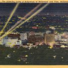 "Hollywood- C. T. Art ""Lights of Hollywood, California"" Linen Postcard"