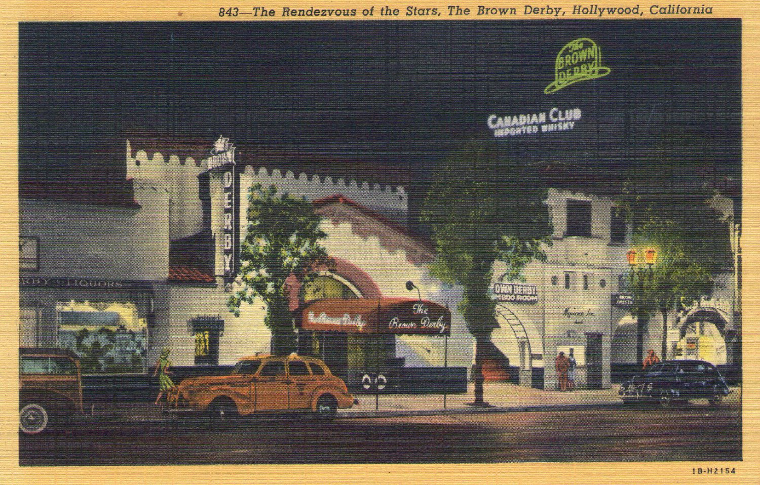 """Hollywood- C. T. Art """"The Brown Derby in Hollywood, California"""" Linen Postcard"""