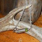 Ammo Bracelet 38 Auto OOAK Shell Casing Bracelet- Green and Silver- Swarovski Crystal