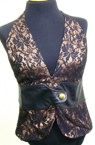 GUESS MARCIANO Lambskin Leather Lace Silk Halter Top M