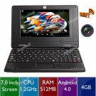 """7"""" Android 4.0 4GB Netbook Laptop Notebook WiFi Camera  L-146504-130 CHEAP LAPTOP , FREE SHIPPING"""