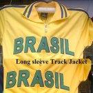 Brasil Track Jacket White Yellow Gold Brasil long sleeve track jacket S-3XL