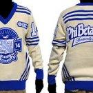 Phi Beta Sigma Long Sleeve V neck Sweater White Blue V neck Fraternity Sweater