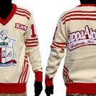 Kappa Alpha Psi Long Sleeve V neck Sweater White Red V neck Fraternity Sweater