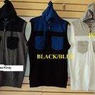 Blue Gray sleeveless hoodie vest sweater Sleeveless Casual Vest jacket top M-2X