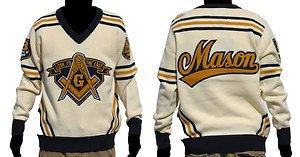 Freemason Mason Long Sleeve Sweater Blue Gold V neck Masonic Fraternity Sweater