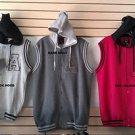 Gray Black Cotton sleeveless vest hoody jacket Hoodie Hoody jacket Vest M-3