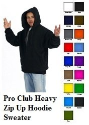Red Zip Up Hooded Sweatshirts PRO CLUB Adult Zip Up Hoodie Hoody sweater S-7X