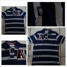AKADEMIKS Blue Gray stripe Polo Shirt Men's blue short sleeve polo shirt S-XL