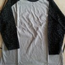 Gray Black Cheetah print Long sleeve baseball T shirt  CREW-NECK T-SHIRT S-XL
