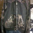 Vintage Style Black Leather jacket Vintage Style Leather Denim Jean Jacket Coat