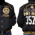 Freemason Mason Masonic Black Gold Long sleeve twill Mason Jacket Coat M-5X