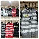 White Gray sleeveless vest  Sleeveless Stripe Zip Up Hoodie Vest  jacket  S-XL