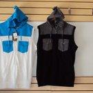 White Aqua  sleeveless hoodie vest sweater Sleeveless Casual Vest jacket top M-2