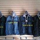Dark Blue sleeveless denim vest Sleeveless Denim Hoody Hoodie Vest jacket M-2X