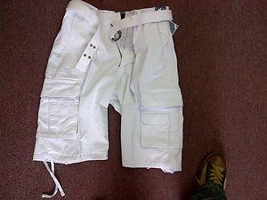 Mens White cargo shorts White heavy weight cargo shorts Mens Cargo Shorts