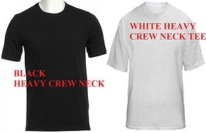 BLACK WHITE HEAVY WEIGHT SHORT SLEEVE T SHIRT MENS CREW NECK T SHIRT L-4X 6 PACK