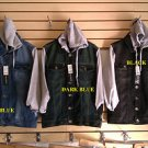 Black Denim Jean Jacket Denim Jean Hoody Hoodie Jacket Coat Jean Jacket M-2