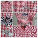 Red White stripe checker design button up short sleeve shirt Atti shirt L-3X
