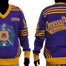 Omega Psi Phi Long Sleeve V neck Sweater Purple Gold Q-DOG V neck Sweater M-2X
