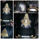 Mens Black Freemason leather baseball Cap Leather Masonic Mason Baseball Hat