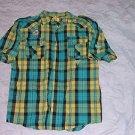 Mens green short sleeve plaid button up shirt Yellow Plaid short sleeve shirt XL