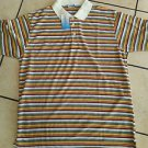 Olive White blue stripe design button up short sleeve polo shirt Stripe Shirt XL