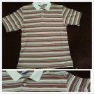 White brown blue stripe design button up short sleeve polo shirt Stripe Shirt XL