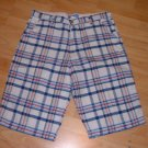 Mens red blue white plaid walking shorts Plaid Casual Beach skater Shorts W38